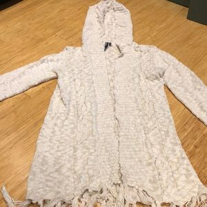 O Neill sweater with hoodie and fringe. Size L